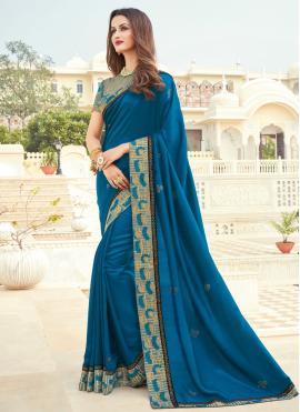 Blue Silk Engagement Designer Saree