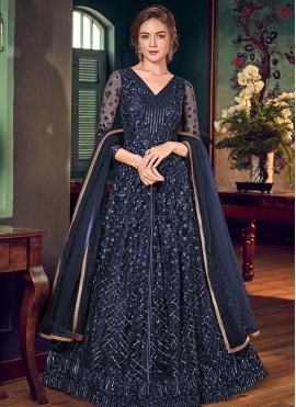 Blue Thread Work Fancy Fabric Trendy Salwar Suit