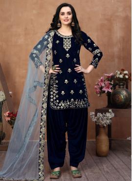 Blue Velvet Embroidered Designer Patiala Suit