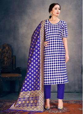Blue Weaving Festival Pant Style Suit