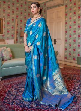 Blue Weaving Sangeet Trendy Saree