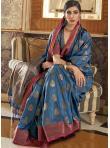 Blue Weaving Traditional Saree - 1