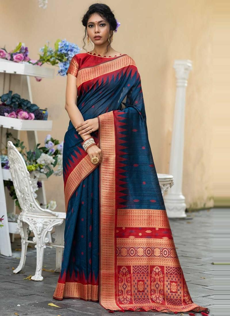 Blue Weaving Tussar Silk Designer Traditional Saree