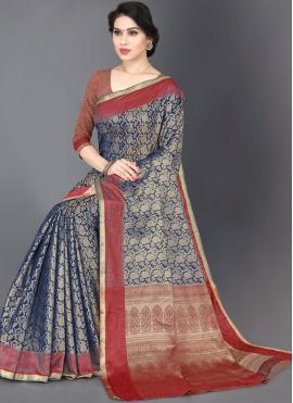 Blue Woven Trendy Saree