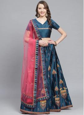 Bollywood Lehenga Choli Embroidered Satin in Blue
