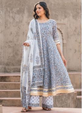 Bollywood Salwar Kameez Printed Cotton in Blue