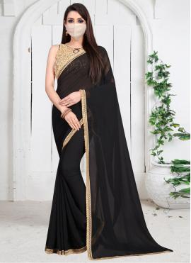 Border Georgette Designer Bollywood Saree in Black