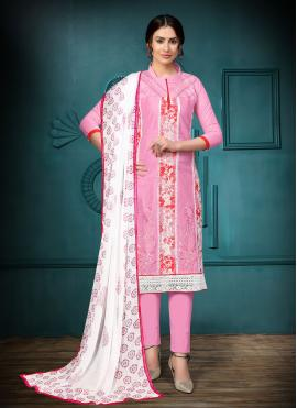 Breathtaking Embroidered Cotton Pink Churidar Suit