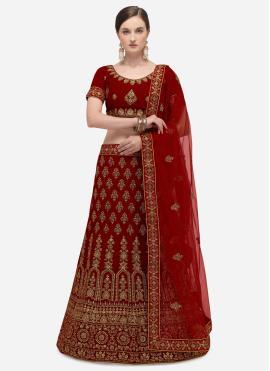 Breathtaking Embroidered Velvet A Line Lehenga Choli
