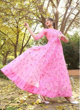Breathtaking Foil Print Pink Chanderi Readymade Gown