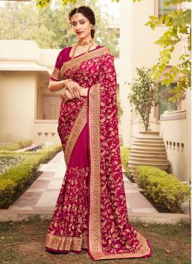 Breathtaking Patch Border Magenta Vichitra Silk Designer Saree
