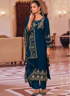 Brilliant Embroidered Georgette Trendy Salwar Kameez