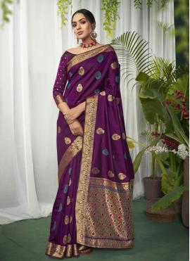 Brilliant Fancy Purple Art Silk Designer Traditional Saree