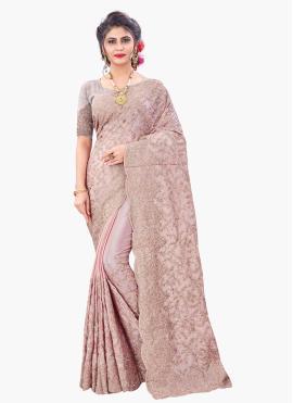 Brilliant Faux Chiffon Pink Embroidered Designer Saree