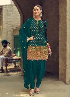 Brilliant Faux Georgette Green Patiala Suit