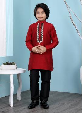 Brilliant Patchwork Work Maroon Kurta Pyjama