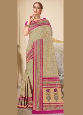 Brocade Embroidered Trendy Saree in Beige