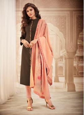Brown Ceremonial Maslin Silk Bollywood Salwar Kameez