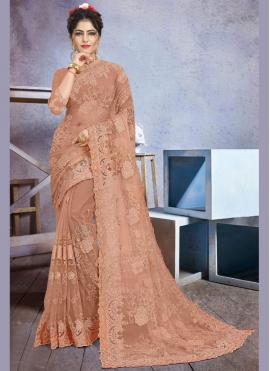 Brown Embroidered Party Classic Designer Saree