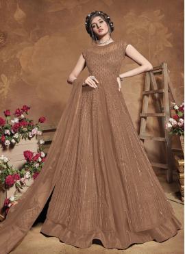 Brown Engagement Floor Length Anarkali Suit