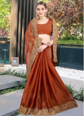 Brown Faux Chiffon Designer Contemporary Saree