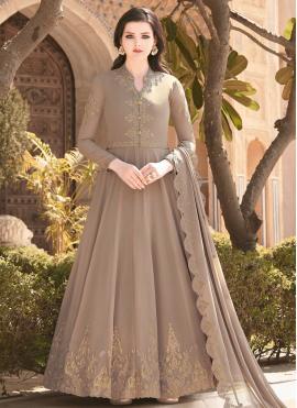 Brown Faux Georgette Embroidered Floor Length Anarkali Salwar Suit