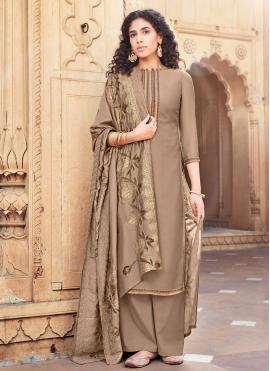 Brown Festival Cotton Silk Designer Palazzo Salwar Suit
