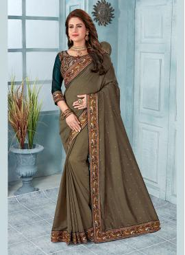 Brown Festival Silk Classic Saree