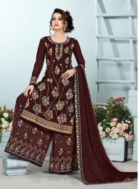 Brown Georgette Embroidered Designer Pakistani Suit