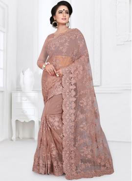 Brown Net Classic Designer Saree