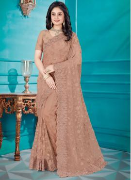 Brown Net Embroidered Classic Saree