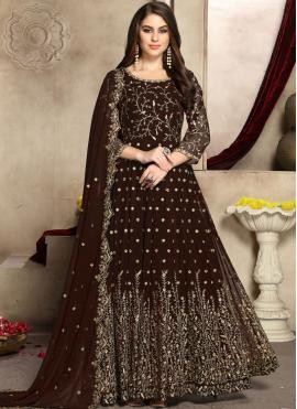 Brown Party Anarkali Salwar Suit