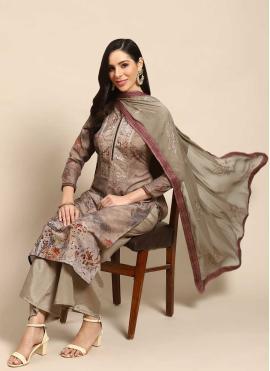 Brown Party Cotton Designer Palazzo Salwar Kameez