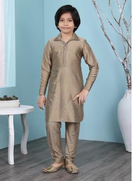 Brown Plain Cotton Silk Kurta Pyjama