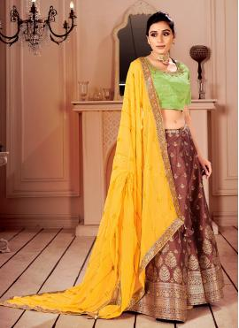 Brown Sangeet Silk Lehenga Choli