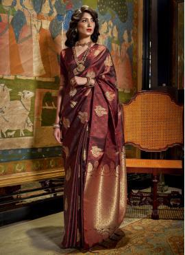 Brown Weaving Mehndi Designer Traditional Saree
