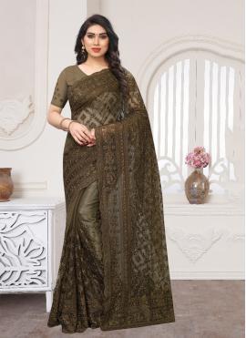 Brown Wedding Net Designer Saree