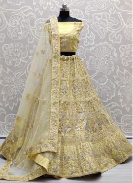 Capricious Diamond Net Yellow A Line Lehenga Choli