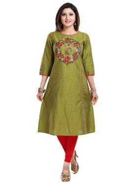 Capricious Fancy Raw Silk Green Party Wear Kurti
