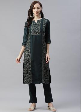 Capricious Foil Print Green Readymade Salwar Kameez