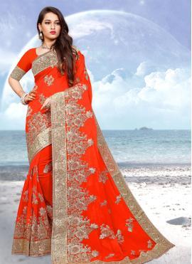 Capricious Georgette Orange Resham Classic Designer Saree