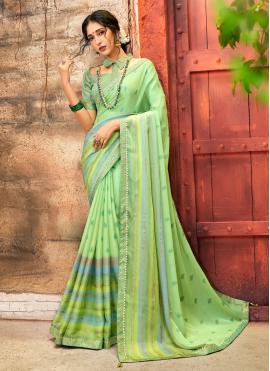 Capricious Green Foil Print Printed Saree