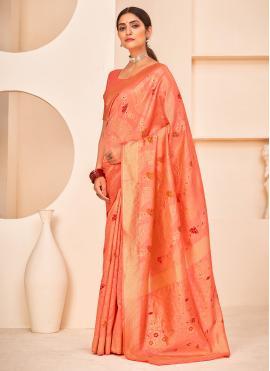 Captivating Banarasi Silk Peach Weaving Designer Traditional Saree
