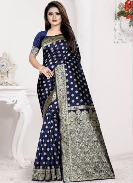 Captivating Blue Weaving Art Silk Designer Traditional Saree
