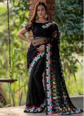 Captivating Fancy Net Black Classic Designer Saree
