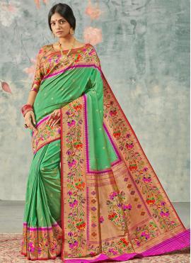 Captivating Green Weaving Silk Designer Saree