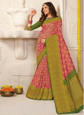 Captivating Weaving Multi Colour Silk Classic Saree