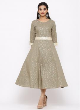 Casual Kurti Print Cotton in Grey