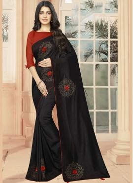 Casual Saree Embroidered Silk in Black
