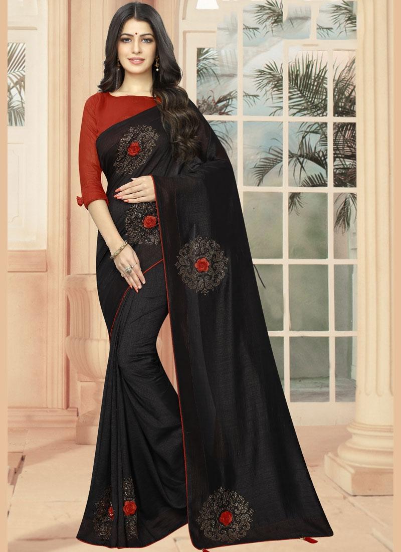 Casual Saree Embroidered Silk in Black